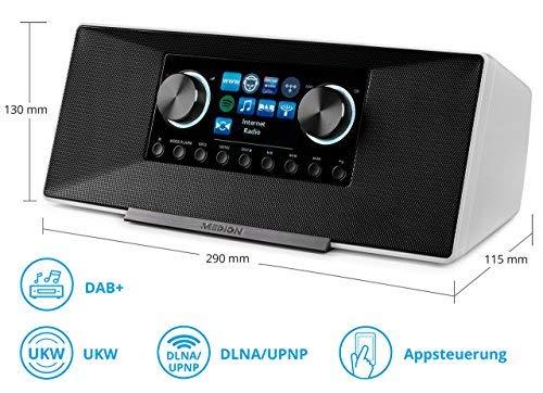 MEDION LIFE P85135 MD 87990 7,1 cm (2,8 Zoll TFT-Display) WLAN Internet-Radio, 2x6 W RMS, DLNA-/UPnP, DAB+, FM/UKW, LAN, USB 2.0, AUX, Spotify, weiß