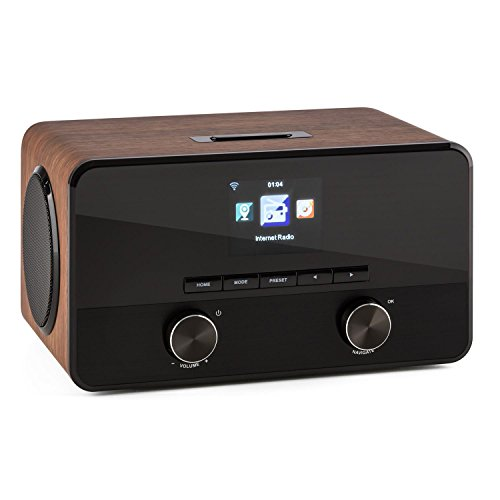 TESTURTEIL: SEHR GUT* auna Connect 100 WN • Internetradio • Digitalradio • WLAN-Radio • Bluetooth • AUX • MP3-USB • 2 Breitbandlautsprecher • Wecker • Farbdisplay • Dimmfunktion • Holzfurnier • walnuss