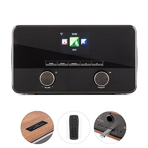 TESTURTEIL: SEHR GUT* auna Connect 100 WN • Internetradio • Digitalradio • WLAN-Radio • Bluetooth • AUX • MP3-USB • 2 Breitbandlautsprecher • Wecker • Farbdisplay • Dimmfunktion • Holzfurnier • walnuss - 4