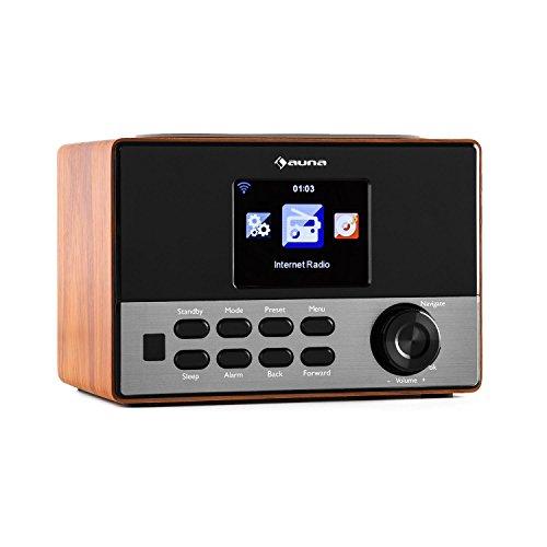 """auna Connect 90 WN • Internetradio • Digitalradio • WLAN-Radio • Netzwerkplayer • AUX • Line-Ausgang • MP3-fähiger USB-Slot • Wecker • Sleep-Timer • 3,2""""-TFT-Farbdisplay • Uhrzeitanzeige • Dimmfunktion • Wetteranzeige • Fernbedienung • Holz • walnuss"""