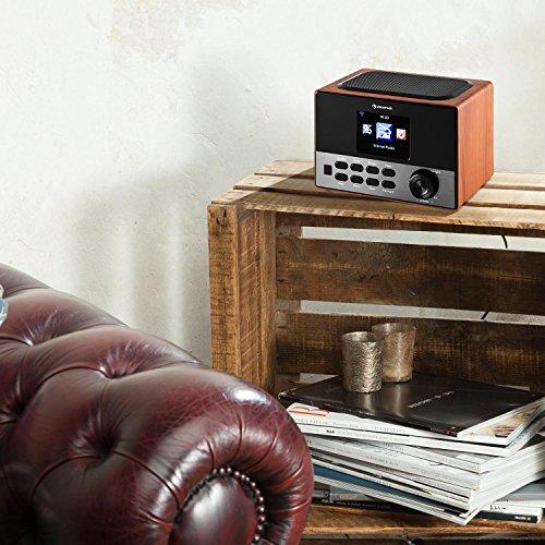 auna Connect 90 WN • Internetradio • Digitalradio • WLAN-Radio • Netzwerkplayer • AUX • Line-Ausgang • MP3-fähiger USB-Slot • Wecker • Sleep-Timer • 3,2″-TFT-Farbdisplay • Uhrzeitanzeige • Dimmfunktion • Wetteranzeige • Fernbedienung • Holz • walnuss - 2