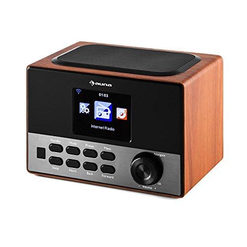 auna Connect 90 WN • Internetradio • Digitalradio • WLAN-Radio • Netzwerkplayer • AUX • Line-Ausgang • MP3-fähiger USB-Slot • Wecker • Sleep-Timer • 3,2″-TFT-Farbdisplay • Uhrzeitanzeige • Dimmfunktion • Wetteranzeige • Fernbedienung • Holz • walnuss - 3