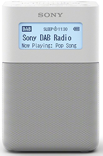 Sony XDR-V20D DAB/DAB+/UKW Radio mit StereoLautsprecher (10 Senderspeicher, platzsparendes Design, Akku- & Netzbetrieb, Timer-Weckfunktion) Weiß