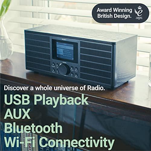 Peterhouse Graduate Internetradios WiFi-Verbindung, Spotify Connect, Bluetooth, Fernbedienung, USB Eingang/Aufladen, AUX-in, Dual Wecker und Einstellungen (Schwarz) - 4