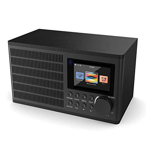 Peterhouse Internetradios WiFi-Verbindung, USB Eingang/Aufladen, AUX-in, Dual Wecker und Einstellungen (Schwarz)