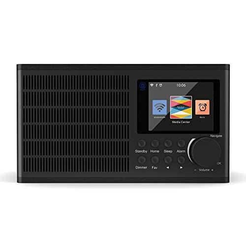 Peterhouse Internetradios WiFi-Verbindung, USB Eingang/Aufladen, AUX-in, Dual Wecker und Einstellungen (Schwarz) - 2