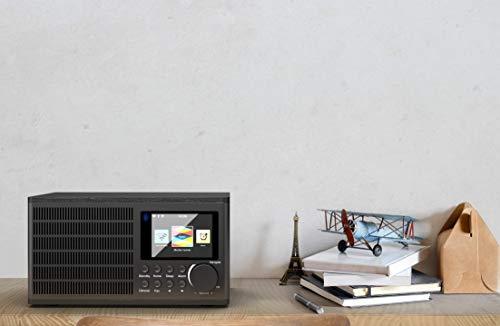 Peterhouse Internetradios WiFi-Verbindung, USB Eingang/Aufladen, AUX-in, Dual Wecker und Einstellungen (Schwarz) - 4