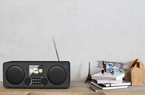 Pembroke Internetradios WiFi-Verbindung, DAB/DAB+/FM Radio, Bluetooth, Fernbedienung, USB Eingang/Aufladen, AUX-in, Dual Wecker und Einstellungen (Schwarz) - 4