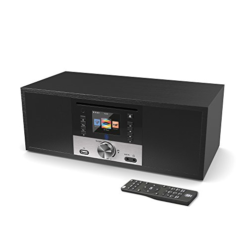 King's Internetradios WiFi-Verbindung, DAB/DAB+/FM Radio, 30W CD-Player, Bluetooth, Fernbedienung, USB Eingang/Aufladen, AUX-in, Dual Wecker und Einstellungen (Schwarz)