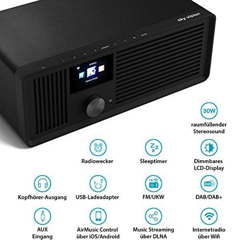 sky vision DAB 70 – Stereo DAB+ Internet-Radio (FM UKW, WLAN-fähig, mit AUX-Anschluss plus Kabel, Digital-Radio Wecker, mit Fernbedienung), schwarz - 3