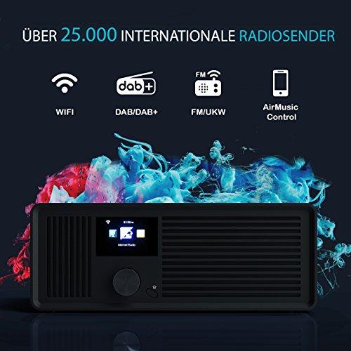 sky vision DAB 70 – Stereo DAB+ Internet-Radio (FM UKW, WLAN-fähig, mit AUX-Anschluss plus Kabel, Digital-Radio Wecker, mit Fernbedienung), schwarz - 5