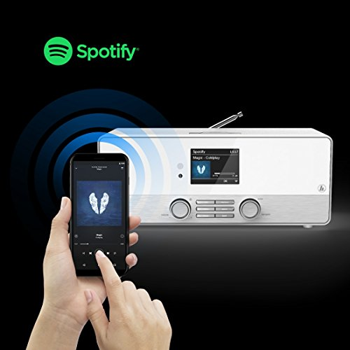 Hama Internetradio Digitalradio DIR3110M (WLAN/LAN/DAB+/FM, Fernbedienung, USB-Anschluss mit Lade- und Wiedergabefunktion, 2,8 Zoll-Farbdisplay, Wi-Fi Streamingfunktion, Multiroom, gratis Radio App) weiß - 2