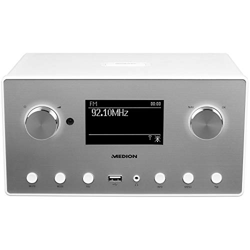 Medion MD 87523 WLAN Internet-Radio (DAB+, UKW, Bluetooth, USB, Spotify, AirPlay, Multiroom, AUX) weiß