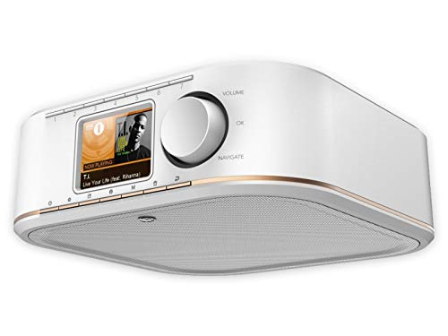 Hama Internetradio IR350, unterbaufähig (WLAN Küchenradio, 2,4 Zoll Farbdisplay, Fernbedienung via gratis Radio-App, Weck- und WiFi-Streamingfunktion, Multiroom) weiß/kupfer