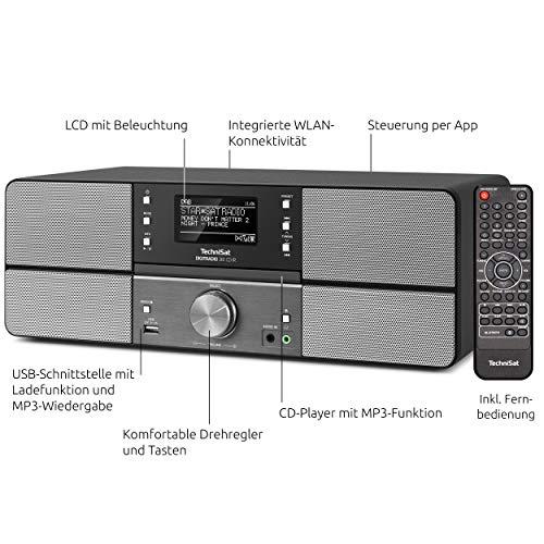 TechniSat DIGITRADIO 361 CD IR Digital-Radio mit CD-Player, Internetradio, DAB+, UKW, CD-Player, USB, Bluetooth, LAN, WLAN, UPnP Audio-Streaming, Wecker, 2 Weckzeiten, Sleeptimer, 2x 5 Watt, anthrazit - 3