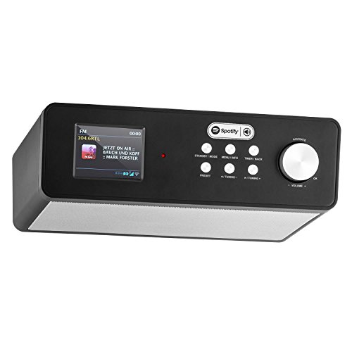 auna KR-200 • Küchenradio • Unterbauradio • DAB / DAB+ Tuner • UKW-Empfänger • Spotify Connect • 10 Senderspeicherplätze • automatischer und manueller Sendersuchlauf • WiFi • AUX • Equalizer • Dual-Alarm • Schlummerfunktion • Fernbedienung • schwarz