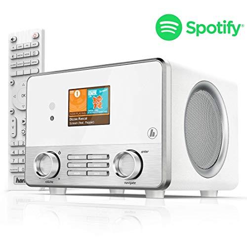 Hama Internetradio IR111MS (WLAN/LAN, Fernbedienung, USB-Anschluss mit Lade- und Wiedergabefunktion, Weck- und Wifi-Streamingfunktion, Multiroom, gratis Radio App) weiß