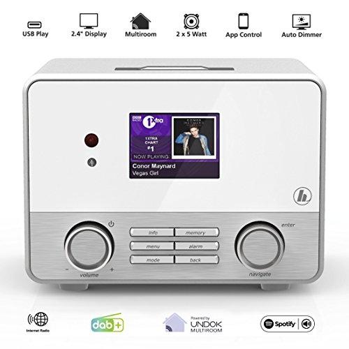 Hama Internetradio IR111MS (WLAN/LAN, Fernbedienung, USB-Anschluss mit Lade- und Wiedergabefunktion, Weck- und Wifi-Streamingfunktion, Multiroom, gratis Radio App) weiß - 2