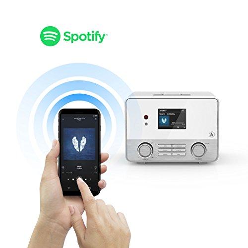 Hama Internetradio IR111MS (WLAN/LAN, Fernbedienung, USB-Anschluss mit Lade- und Wiedergabefunktion, Weck- und Wifi-Streamingfunktion, Multiroom, gratis Radio App) weiß - 4
