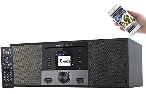 VR-Radio Stereoanlage: Stereo-Internetradio m. CD-Player, DAB+/FM, Farbdisplay, Wecker, 32 W (Internetradios)