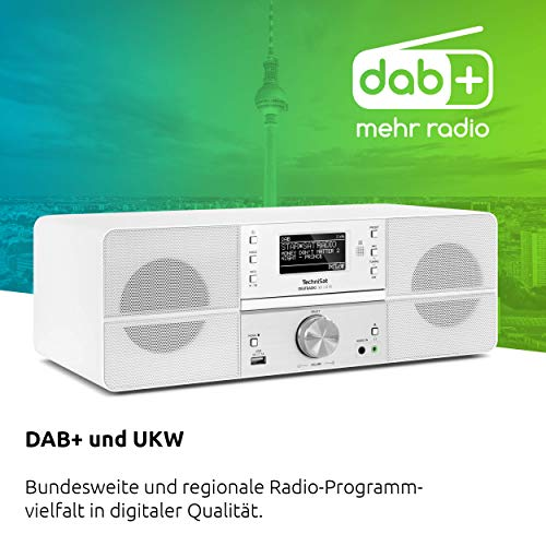TechniSat DIGITRADIO 361 CD IR Digital-Radio mit CD-Player, Internetradio, DAB+, UKW, CD-Player, USB, Bluetooth, LAN, WLAN, UPnP Audio-Streaming, Wecker, 2 Weckzeiten, Sleeptimer, 2 x 5 Watt, Weiß - 3