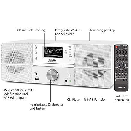 TechniSat DIGITRADIO 361 CD IR Digital-Radio mit CD-Player, Internetradio, DAB+, UKW, CD-Player, USB, Bluetooth, LAN, WLAN, UPnP Audio-Streaming, Wecker, 2 Weckzeiten, Sleeptimer, 2 x 5 Watt, Weiß - 4