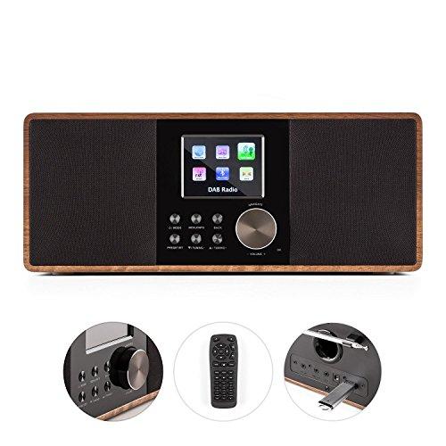auna Connect 120 WN  Internetradio  Digitalradio  WLAN-Radio  Netzwerkplayer  DAB / DAB+ / UKW-Tuner mit RDS  Bluetooth  MP3-USB-Port  AUX-Eingang  Wecker  Sleep-Timer  TFT-Farbdisplay  Dimmfunktion  Uhrzeitanzeige  Holzfurnier  walnuss - 4