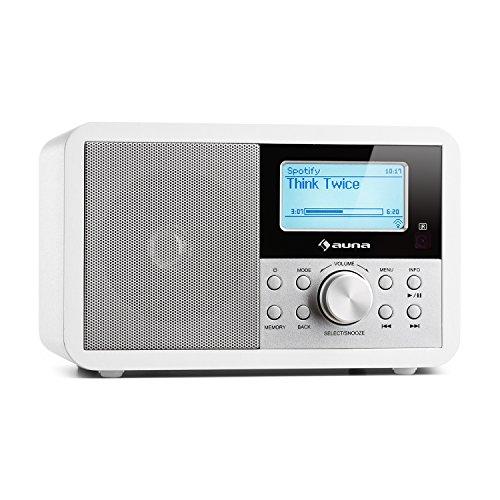 auna Worldwide • Internetradio • Digitalradio • WLAN-Radio • Netzwerkplayer • DAB/DAB+ Tuner • UKW/MW-Empfänger • MP3-USB-Port • Wecker • Sleep-Timer • LCD-Display • Fernbedienung • Weiß