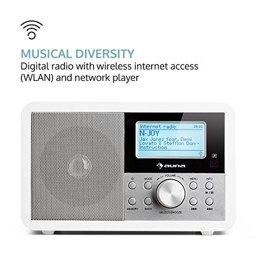 auna Worldwide • Internetradio • Digitalradio • WLAN-Radio • Netzwerkplayer • DAB/DAB+ Tuner • UKW/MW-Empfänger • MP3-USB-Port • Wecker • Sleep-Timer • LCD-Display • Fernbedienung • Weiß - 3